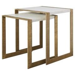 Ben Soleimani Hawthorn Brass Scribed Nesting Table