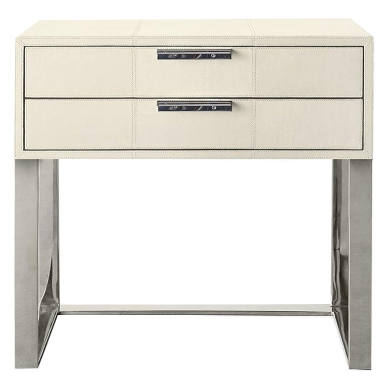 Ben Soleimani Holbrook Nightstand in Leather - Bone For Sale