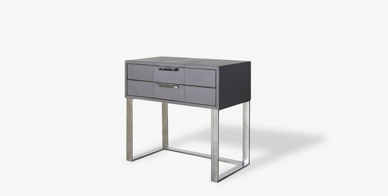 Our Holbrook Nightstand features two slender drawers accented with slim horizontal metal pulls and an open metal base for a clean and modern look. Our handcrafted leathers and finishes are inspired by the natural variations within fibers, textures,