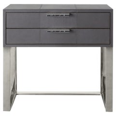 Ben Soleimani Holbrook Nightstand in Leather - Pewter