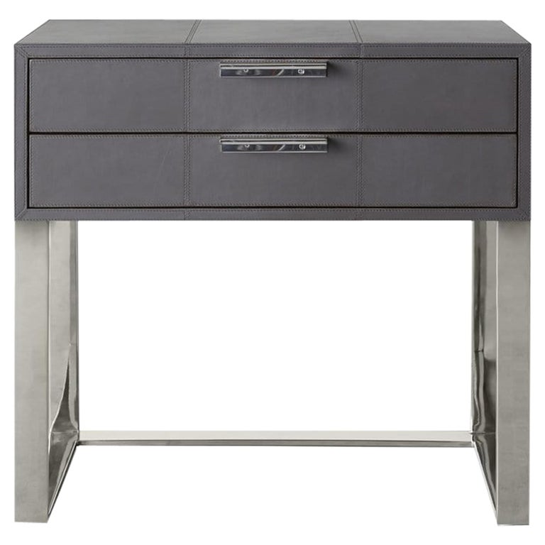 Ben Soleimani Holbrook Nightstand in Leather - Pewter For Sale