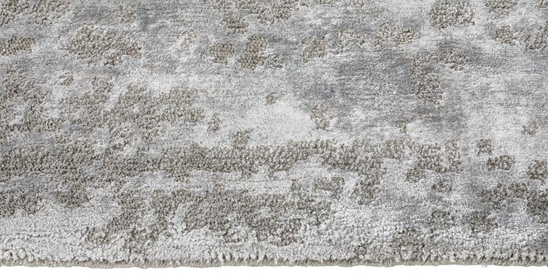 For Sale: Beige (Laria Taupe) Ben Soleimani Laria Rug– Handcrafted Wool + Silk Fog 6'x9' 3