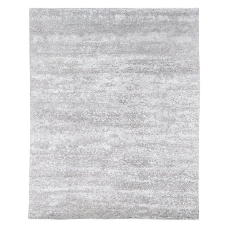 For Sale: Silver (Laria Fog) Ben Soleimani Laria Rug– Handcrafted Wool + Silk Fog 6'x9'