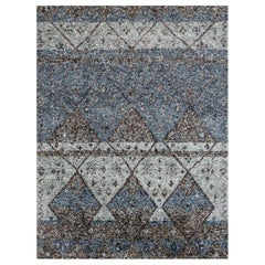 Ben Soleimani Multi-Moroccan Rug– Hand-woven Plush Wool + Viscose Indigo 12'x15'