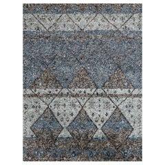 Ben Soleimani Multi-Moroccan Rug– Hand-woven Plush Wool + Viscose Indigo 6'x9'