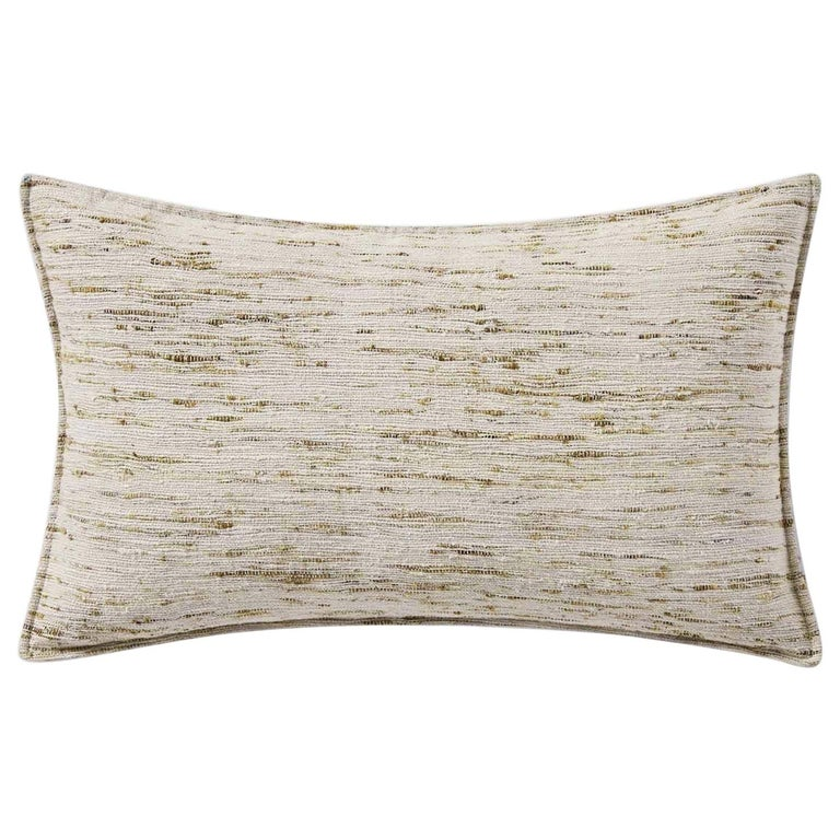 "Ben Soleimani Natural Silk Pillow Cover - Silver 13""x21"" For Sale"