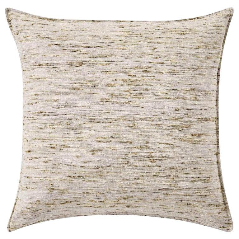 "Ben Soleimani Natural Silk Pillow Cover - Silver 26""x26"" For Sale"