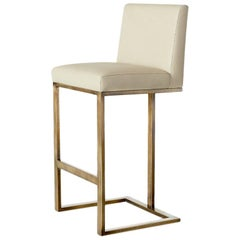Ben Soleimani Savanna Bar Stool in Leather - Parchment