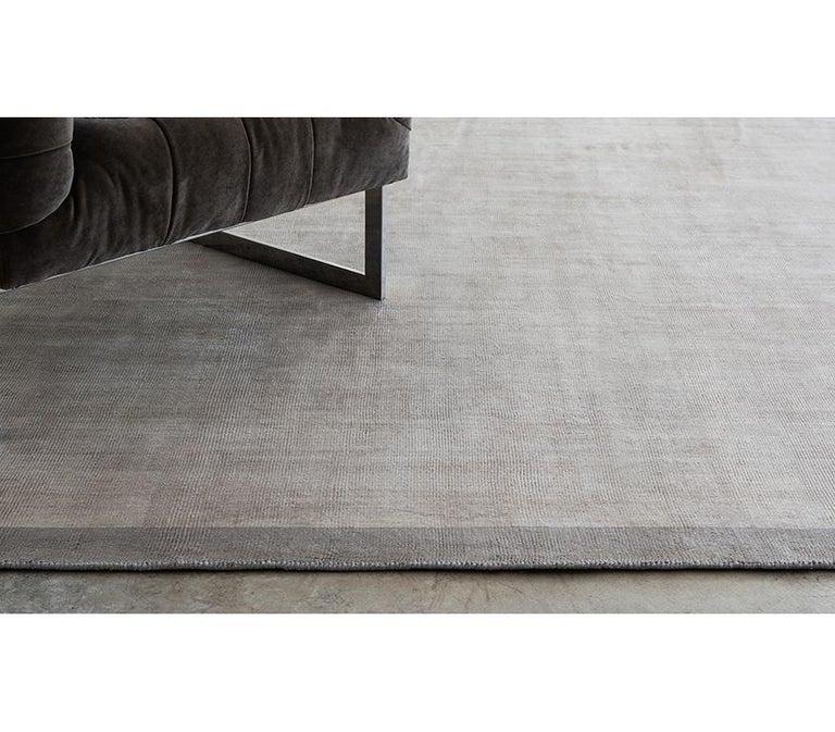 Ben Soleimani Silk Marca Rug– Handwoven Sheen Soft Dark Gray 10'x14' For Sale 3