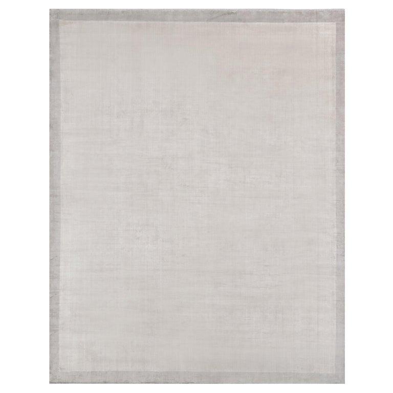 For Sale: Gray (Silka Marca Dark Grey) Ben Soleimani Silk Marca Rug– Handwoven Sheen Soft Dark Gray 10'x14'