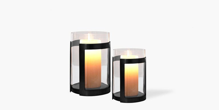 Modern Ben Soleimani Thorne Black Hurricane Candle Holder - Small  For Sale