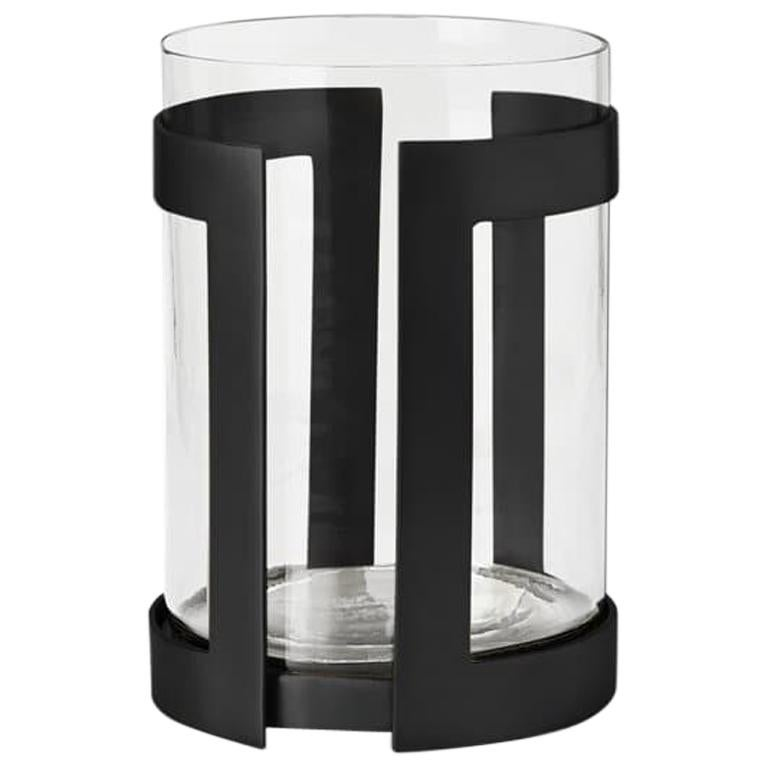 Ben Soleimani Thorne Black Hurricane Candle Holder - Small  For Sale