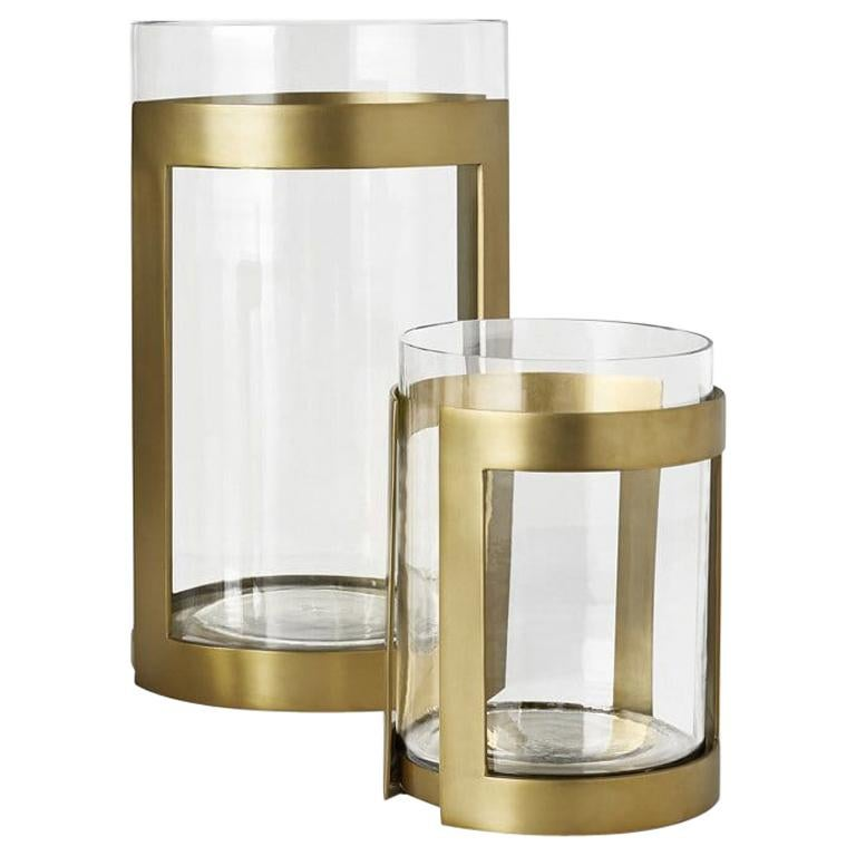 Ben Soleimani Thorne Brass Hurricane Candle Holder - Large  For Sale