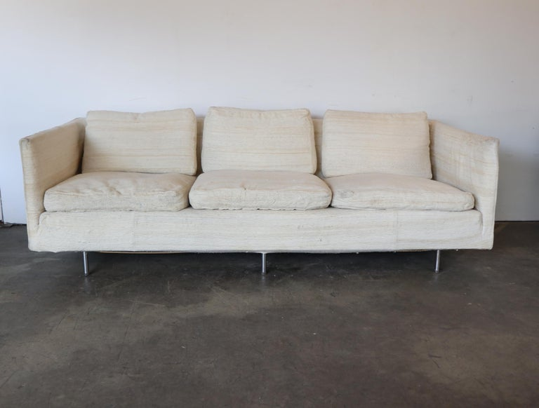 Gorgeous Mid-Century Modern sofa designed by Ben Thompson for Design Research. Purchased from the estate of abstract Expressionist painter in Manhattan, the sole owner. Made in the 1960s. Haitian cotton slip cover is removable. Very comfortable down