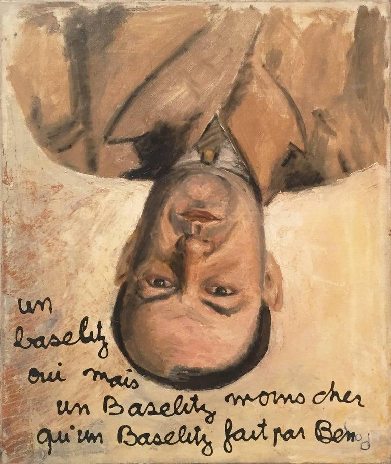 """Ben Vautier """"Tribute to Baselitz"""" 1990, Oil on Canvas Portrait Contemporary Art"""