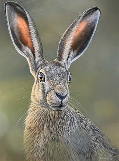 'Hare' Contemporary realist painting of a Hare in landscape, amazingly detailed