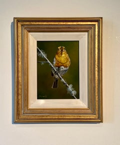 'Morning Song' Contemporary Bird painting of a robin singing, yellow & green