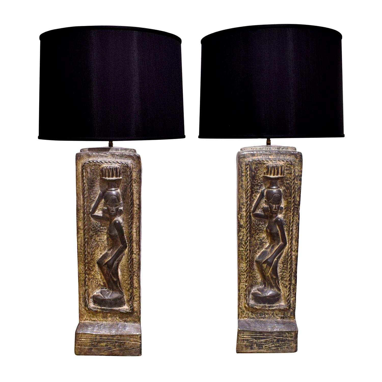Ben Wilson Pair of Large Plaster Table Lamps, 1950s