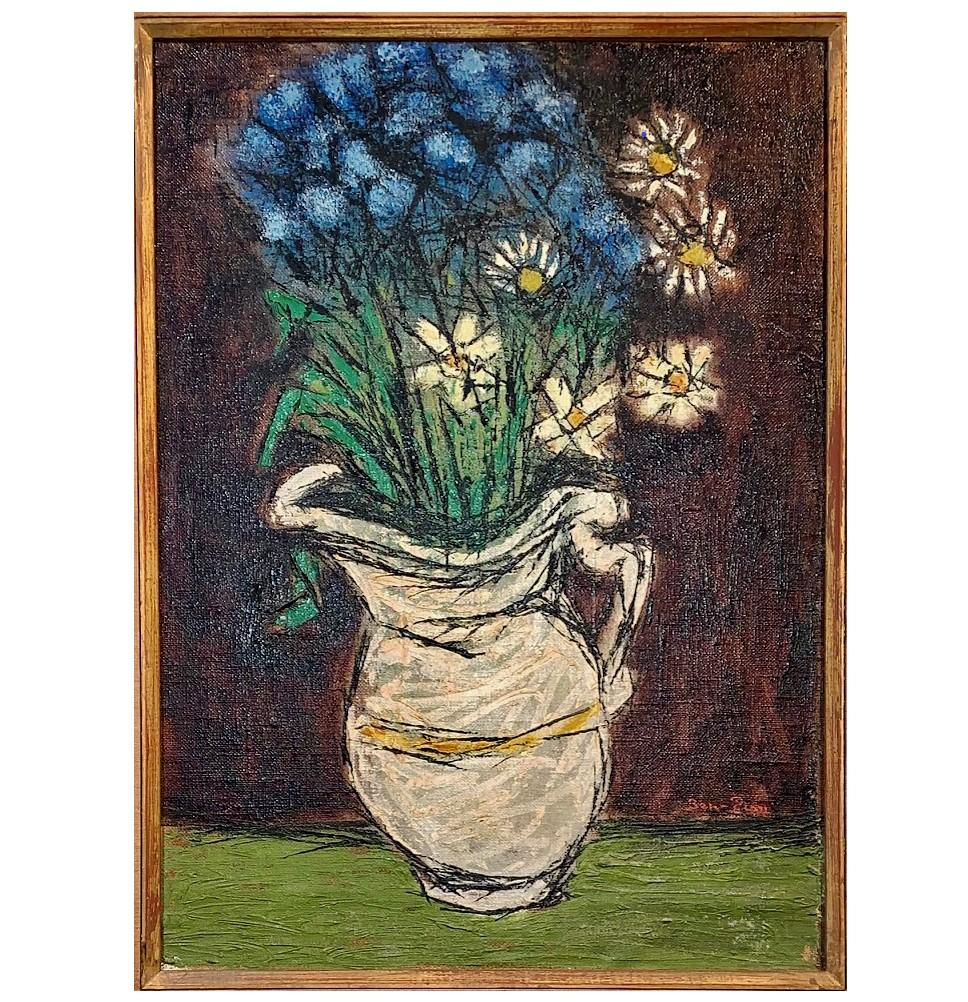 Floral Still Life Oil Painting on Canvas, Signed L.R Ben-Zion (American, 1897-19