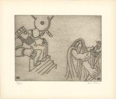 1966 Ben-Zion 'Enkidu Confronts Gilgamesh (XVIII)' Gray Etching
