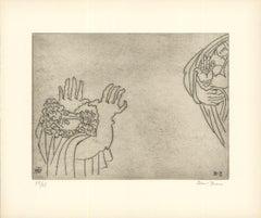 1966 Ben-Zion 'Enkidu Curses the Priestess (XXIV)' Gray Etching