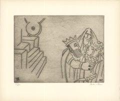 1966 Ben-Zion 'Gilgamesh Embraces Enkidu After Test of Strength (XIX)' Gray