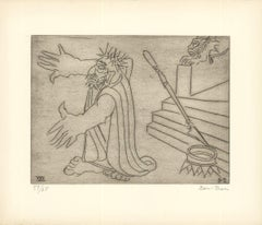 1966 Ben-Zion 'Gilgamesh Leaves His Palace (XXX)' Gray Etching
