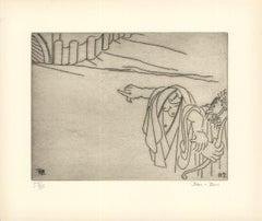 1966 Ben-Zion 'The Priestess Leads Enkidu to Uruk (XVII)' Gray Etching