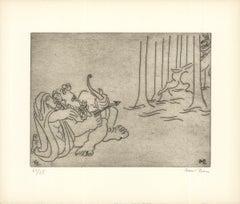 1966 Ben-Zion 'The Priestess Teaches Enkidu to Hunt (XVI)' Gray Etching