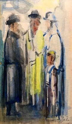 Israeli Judaica Watercolor Gouache Bar Mitzvah Boy Rabbi Painting Russian Artist