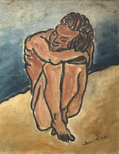 American Modernist Oil Painting Nude Male on Beach WPA Artist Group of 10