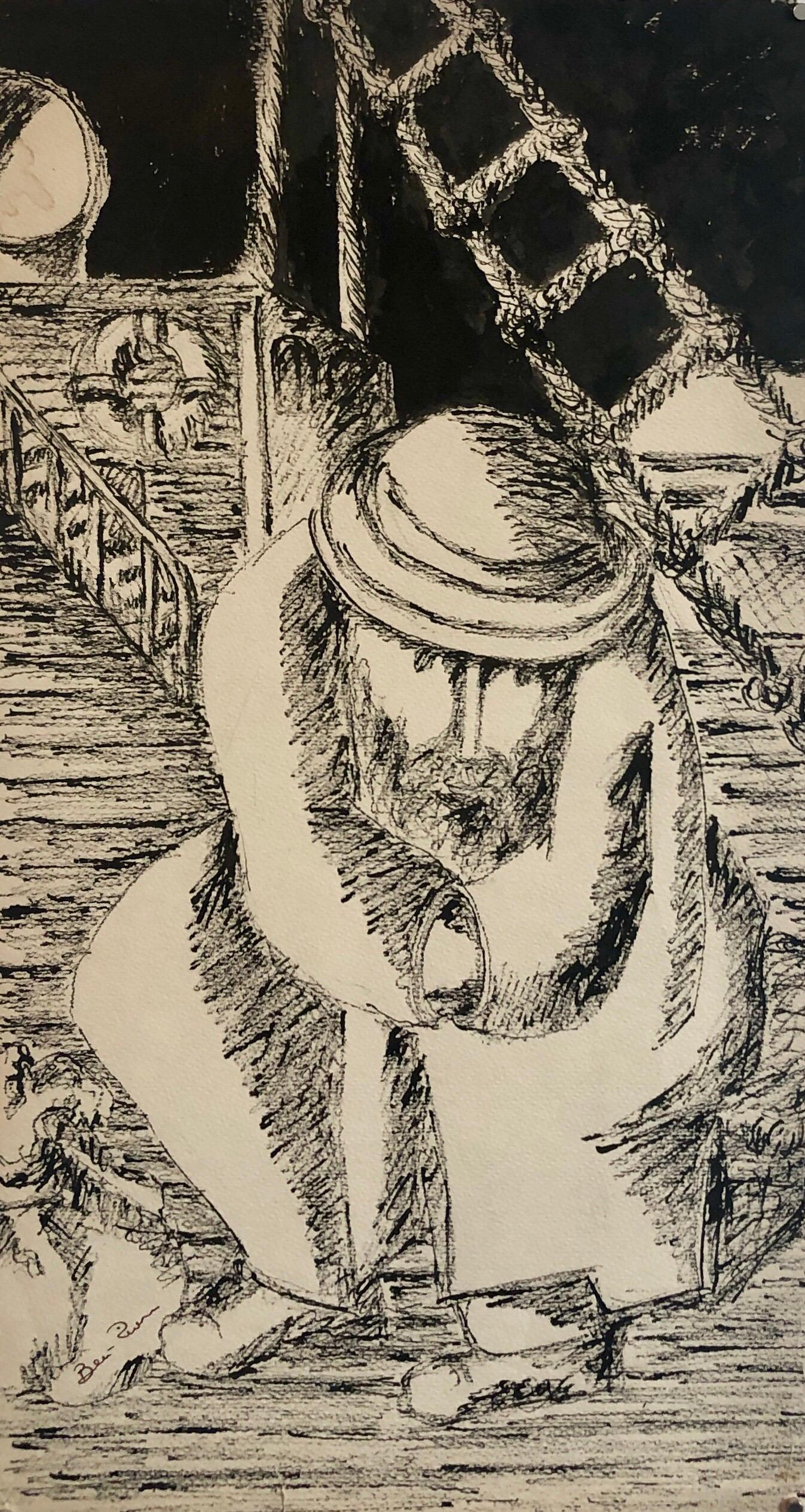 """Modernist Judaica Jewish Ink Drawing Painting """"New Immigrant"""" Off the Boat WPA"""