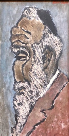 "Modernist Judaica Oil Painting ""Old Jew"" Jewish Rabbi at Prayer"
