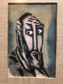 "Modernist Judaica Watercolor Gouache Painting ""Old Jew"" Jewish Rabbi"