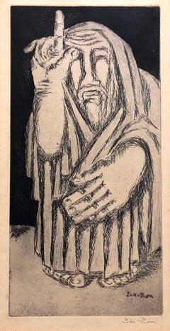 Biblical Prophet Etching American Modernist WPA Artist