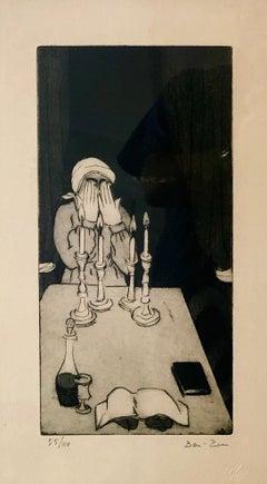 Judaica Jewish Woman Lighting Shabbat Candles Etching American Modernist WPA