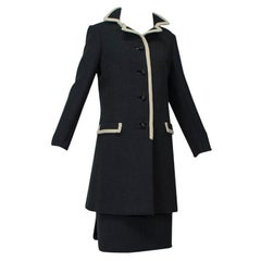 Ben Zuckerman Charcoal Wool Contrast Coat with Scallop-Back Skirt - M-L, 1960s