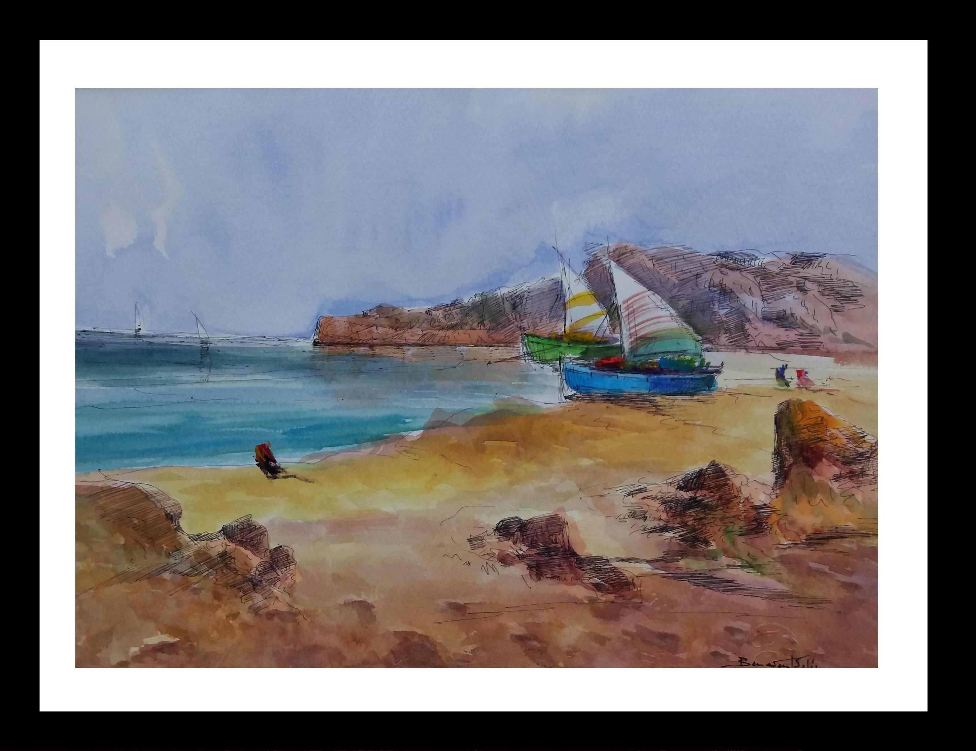 Beach.   Mallorca- original expressionist watercolor painting