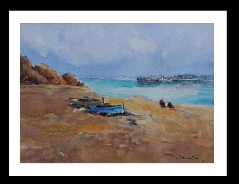 Benavente Solis Figurative Painting - Beach. sea  Mallorca- original expressionist watercolor painting