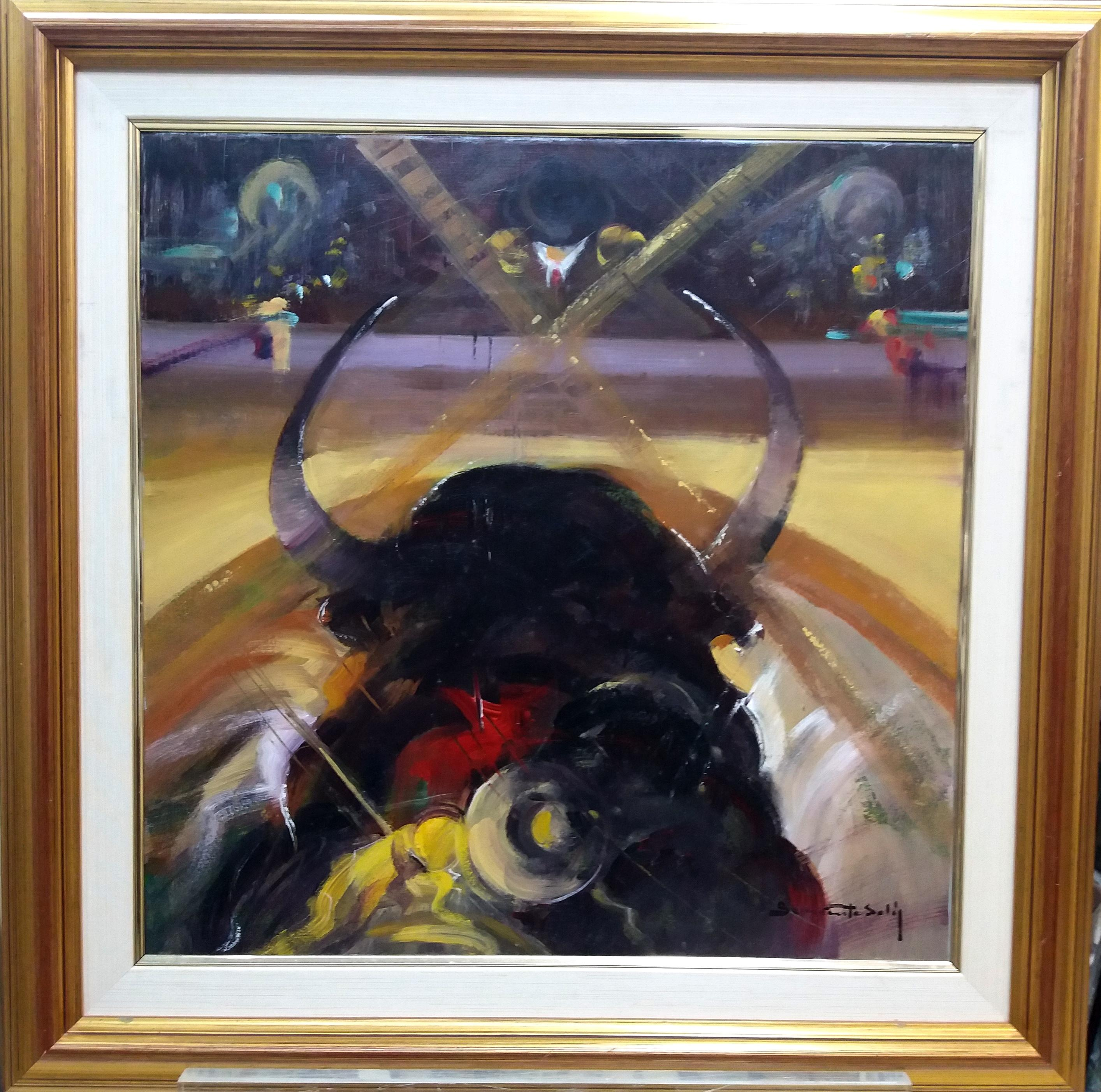 bull. dream of a bullfighter original expressionist acrylic painting