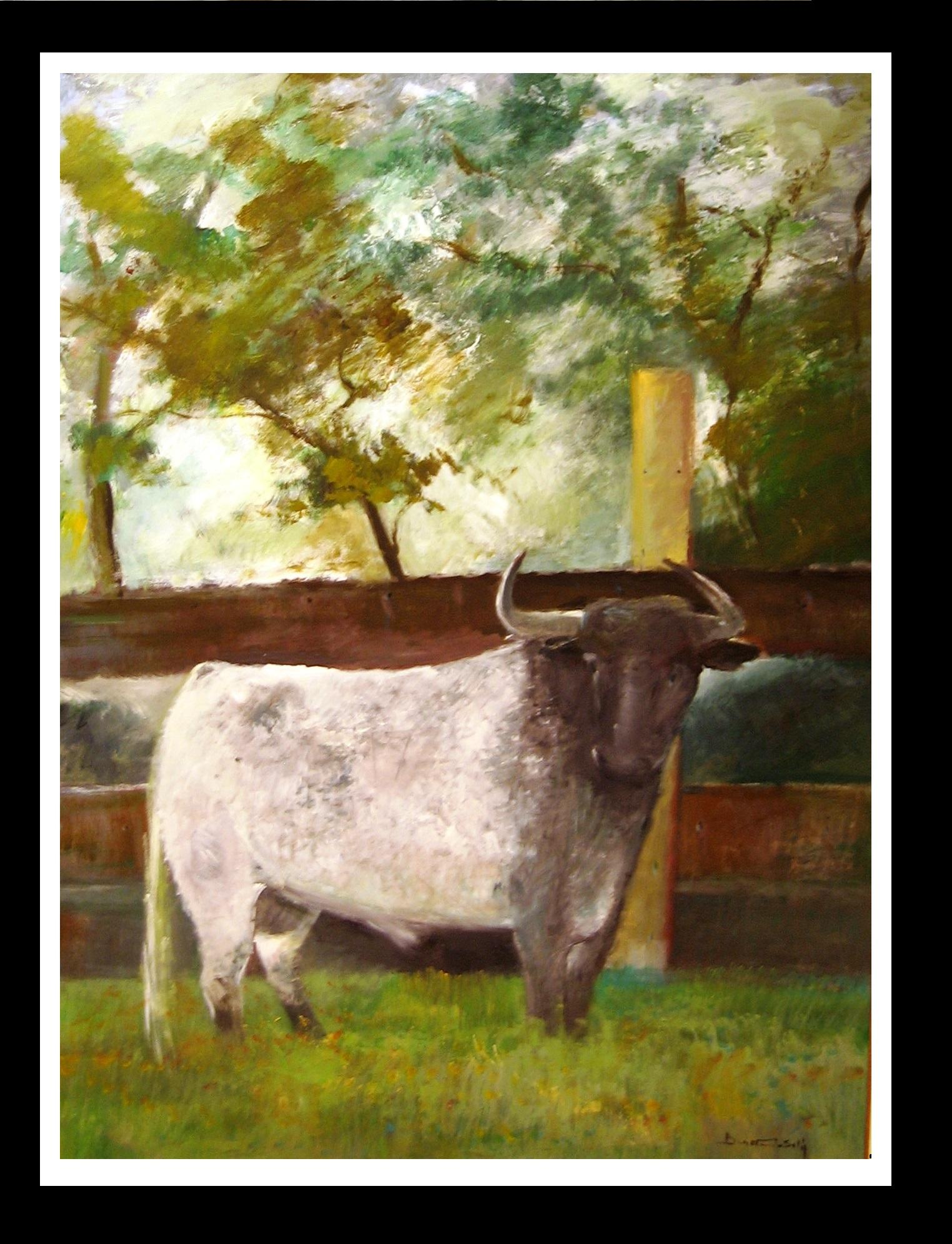 Bull- original expressionist acrylic painting