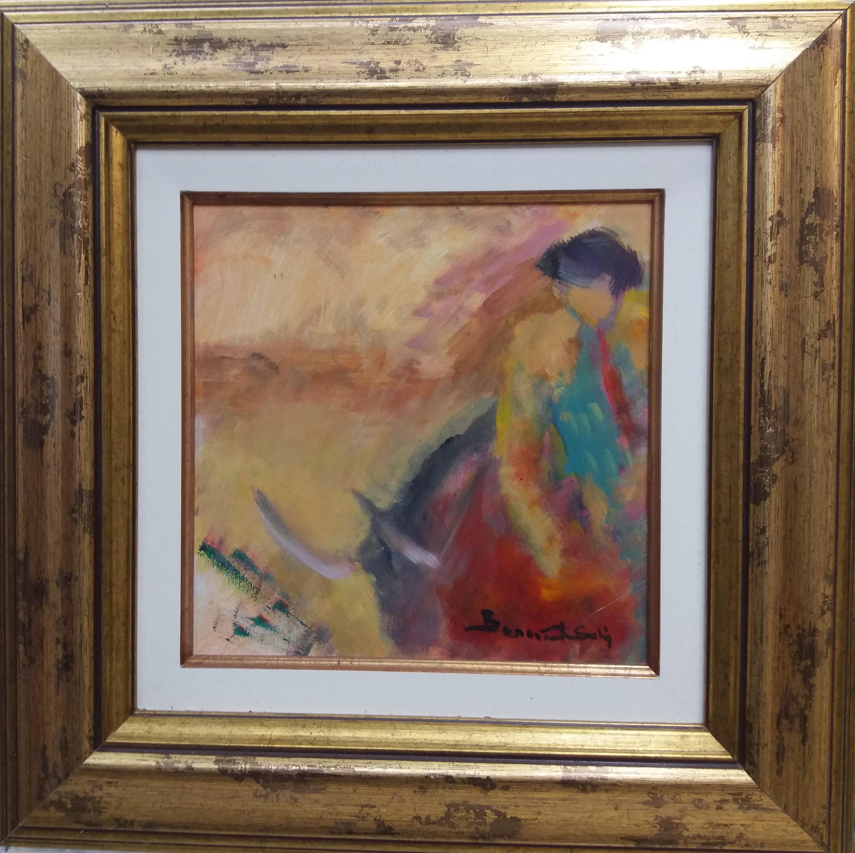 bullfighting. original expressionist acrylic painting