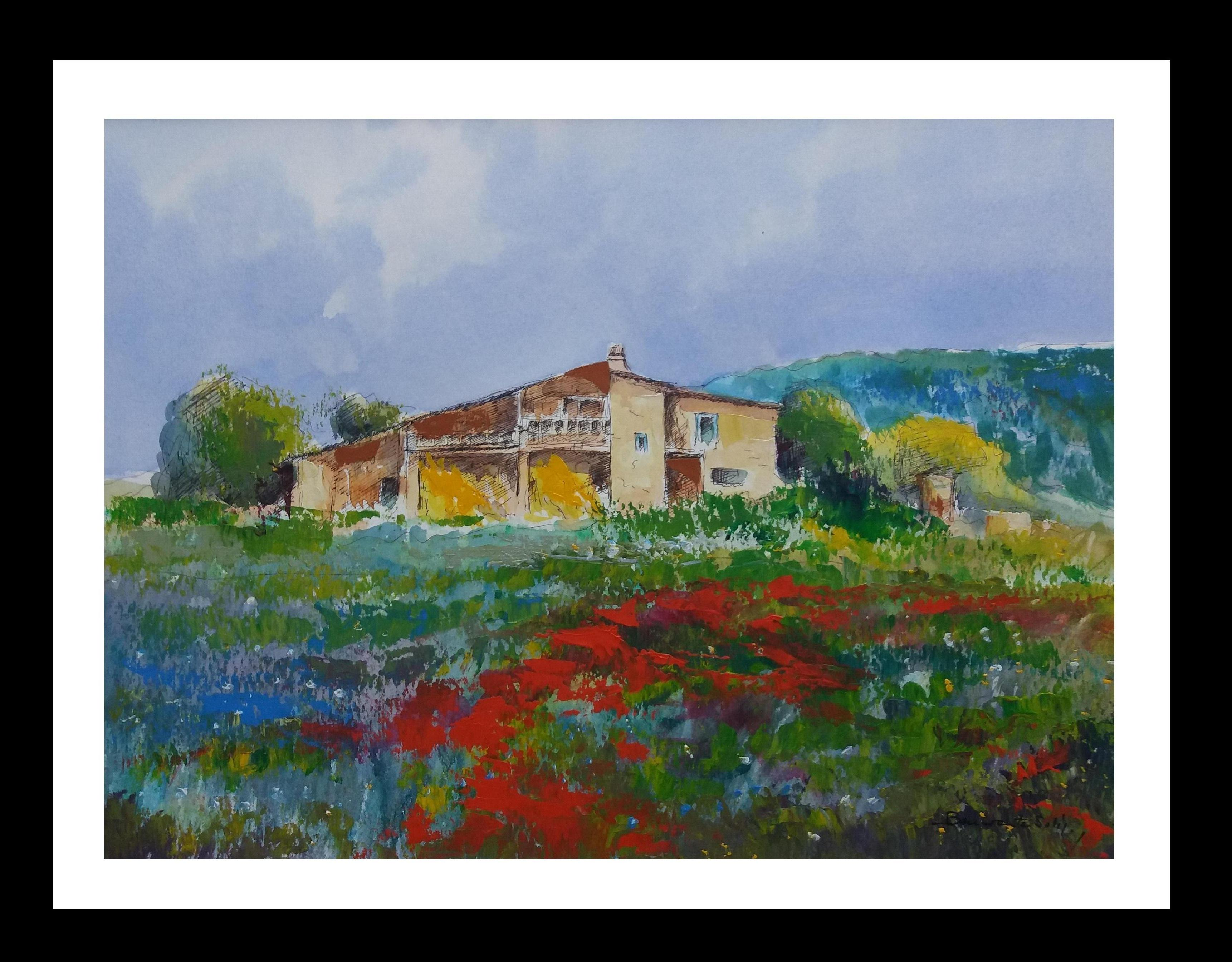 home. field. poppies.  Mallorca- original expressionist watercolor painting