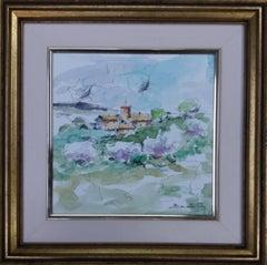 Landscape almonds in floweroriginal expressionist watercolor painting.