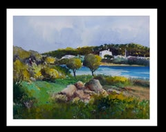 Landscape of Mallorca- original expressionist watercolor painting