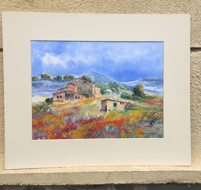 landscape- original figuratif watercolor painting - Abstract Painting by Benavente Solis