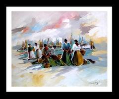 mariscadoras- original expressionist acrylic painting