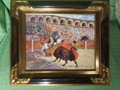 bullfight original expressionist acrylic painting