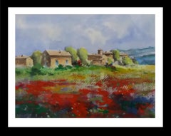 poppies landscape and house original expressionist watercolor painting