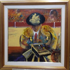 Torero and painter- original expressionistacrylic canvas painting